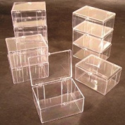 Lot of 15 Crystal Clear Hinged Plastic Trading Card Storage Boxes (100-ct) - Made in the U.S.A.