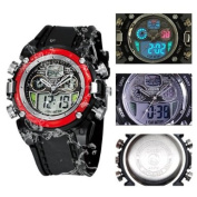 Ohsen Mens Digital Sport Watch With Red Case Black Band