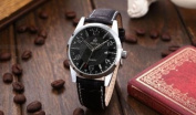 Orkina Mens Boyfriend Black Silver Date Sport Quartz Leather Wrist Watch Gift