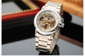 KS Men Luxury Automatic Mechanical Skeleton Dial Steel Band Analogue Sport Watch