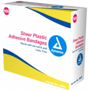 Dynarex Sterile Adhesive Bandages, Sheer Plastic, 5.1cm x 11cm