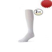 Truform 1943, Men's Dress Style Compression Socks, 15-20 mmHg, Knee High, White, Large
