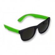 Neon Black & Green Plastic Wayfarer Sunglasses 80's