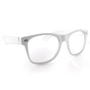 Nerd Glasses Buddy Holly Wayfarer White Frame Clear Lens
