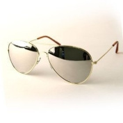 Aviator Sunglasses Gold Frame Mirror Lens with Pouch