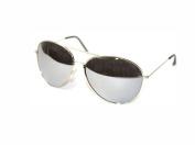 Aviator Sunglasses Silver Frame Mirror Lens 01