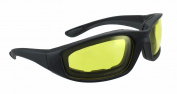 Night Driving Riding Padded Foam Motorcycle Glasses Black Frame with Yellow Lenses 011