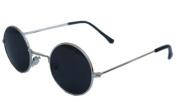 John Lennon Style Sunglasses - Silver / Black w/ Micro Case