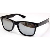 QLook Blues Brothers Wayfarer Style Sunglasses - Black / Mirror Lens