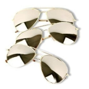 3 Pack of Aviator Sunglasses Gold Frame Mirror Lens with Pouches