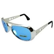 Blue Elvis Aviator Sunglasses Chrome Frame