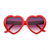 80's - 'Love' Heart shaped sunglasses (More Colours) - Red / Smoke
