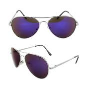 MLC Eyewear 30011R-SVRPL Pilot Fashion Aviator Sunglasses Silver Black Frame Purple Mirror Lenses for Men and Women