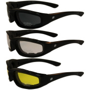 ORIOLE Foam Padded Sunglasses - Clear/Smoke/Yellow Tint All Three