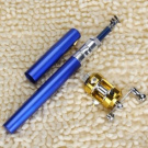 Blue Mini Pocket Aluminium Alloy Fish Pen Fishing Rod Pole with Baitcasting Reel--Ideal Fishing Set for Fishing Enthusiast or Collectors