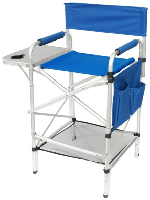 world class tall split back royal blue heavy duty folding directors chair with side table cup. Black Bedroom Furniture Sets. Home Design Ideas
