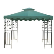 Green 3m x 3m Square Garden Canopy Gazebo Replacement Top 2-Tier Outdoor Patio Yard Party UV Protection Sun Shade Poly-vinyl Fabric Tent