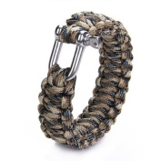 Paracord 550 Survival Bracelet with Stainless Steel U Shackle - Desert camo