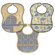 Elephant 3-Pack PEVA Bibs - Yellow