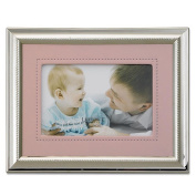 Lawrence Frames 728557 Lawrence Frames Silver Plated 5x7 Metal Picture Frame - Pink Faux Leather Mat
