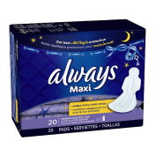 Always Maxi Overnight Extra Heavy Flow with Wings Unscented Pads - 20 CT