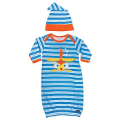 Sozo Boy Stripe Gown and Cap Set with Fold Over Cuff Sleeves