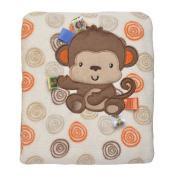 Taggie's Monkey Print Swirl Coral Plush Blanket 76.2cm x101.6cm  - Boys