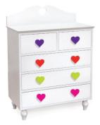 Room Magic Heart 5 Drawer Chest, White