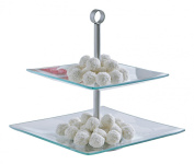 Square 2 Layer Glass Cake / Desert Stand Party Display