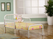 Kings Brand White Finish Metal Toddler Bed Frame with Rails