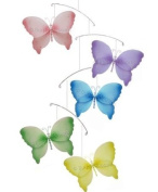 Pink Purple Yellow Blue Green Crystal Butterfly Mobile Decorations - mobiles hanging butterfly nylon butterflies girls room baby nursery bedroom wall ceiling decor bridal baby shower birthday party wedding favour craft decoration