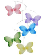 Butterfly Mobile Pink Purple Yellow Blue Green Swirls Nylon Butterflies Mobiles Decorations - Decorate for a Baby Nursery Bedroom, Girls Room Hanging Ceiling Decor, Wedding Birthday Party, Bridal Baby Shower, Bathroom. Butterfly Decoration 3D Art Craft