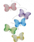 Pink Purple Yellow Blue Green Sparkle Butterfly Mobile Decorations - butterflies hanging nylon nursery bedroom girls room ceiling wall decor, wedding birthday party baby bridal shower