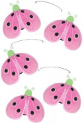 Ladybug Mobile Green Pink Shimmer Nylon Ladybugs Mobiles Decorations - Decorate for a Baby Nursery Bedroom, Girls Room Hanging Ceiling Decor, Wedding Birthday Party, Bridal Baby Shower, Bathroom. Lady Bug Decoration 3D Art Craft