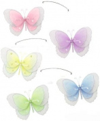Pink Purple Yellow Blue Green Multi Layered Butterfly Mobile Decorations - butterflies hanging nylon nursery bedroom girls room ceiling wall decor, wedding birthday party baby bridal shower