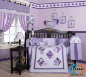 GEENNY Musical Mobile For Boutique Lavender Butterfly CRIB BEDDING SET