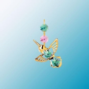 24K Gold Plated Hanging Sun Catcher or Ornament..... Hummingbird with Green. Austrian Crystals