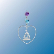 Hanging Sun Catcher or Ornament..... Sail Boat In Heart With. Austrian Crystals