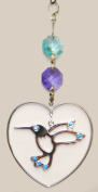 Hanging Sun Catcher or Ornament..... Hummingbird In Heart With. Austrian Crystals