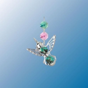 Chrome Plated Hummingbird ... Hanging Sun Catcher or Ornament..... With Green Colour. Austrian Crystal