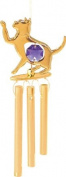 24K Gold Plated Wind Chime Sun Catcher or Ornament..... Cat With Purple. Austrian Crystal