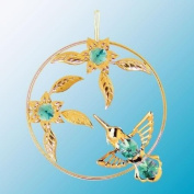 24K Gold Plated Hanging Sun Catcher or Ornament..... Hummingbird with Green. Austrian Crystals in a Flower Circle