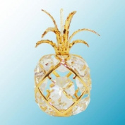 24K Gold Plated Hanging Sun Catcher or Ornament..... Pineapple with Clear. Austrian Crystal