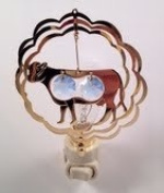 Cow in Ruffled Circles Night Light..... Blue. Austrian Crystals
