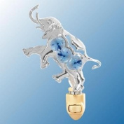 Chrome Elephant Night Light - Blue. Crystal