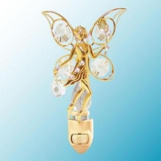 24k Gold Fairy with Rose Night Light - Clear. Crystal