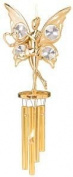 24K Gold Plated Wind Chime Sun Catcher or Ornament..... Fairy holding Heart With Clear. Austrian Crystal