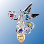 Chrome Angel with Heart Night Light - Multicoloured. Crystal