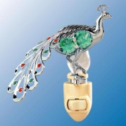 Chrome Peacock Night Light - Green. Crystal