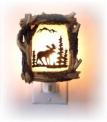 Wooden Design with Antlered Moose Silhouette Collectible Night Light